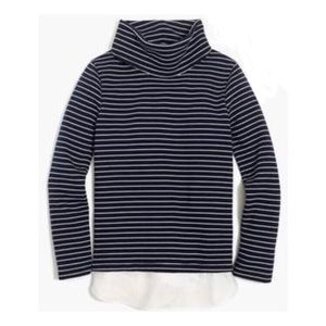 J. Crew Navy Stripe Tunnel Neck Pullover Sweater